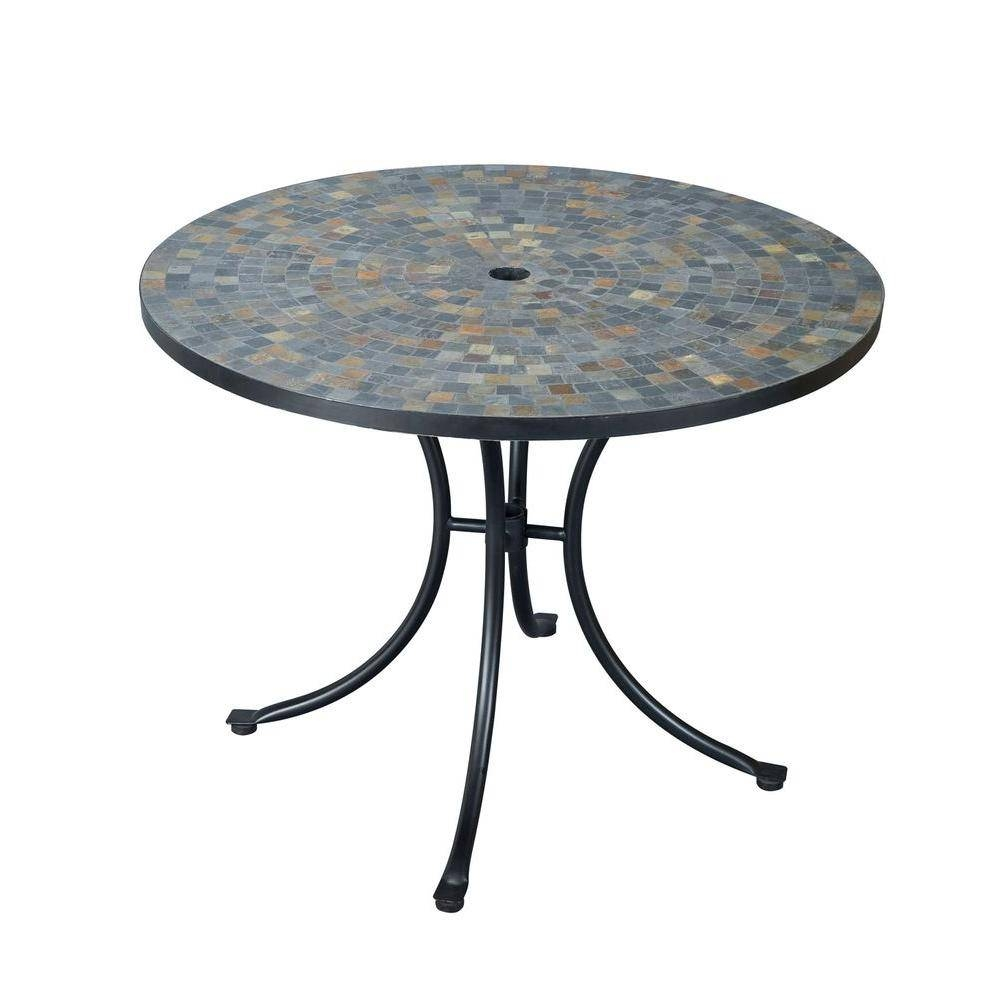 Home Styles Stone Harbor 40 In. Round Slate Tile Top Patio Dining in Round Slate Top Coffee Tables (Image 8 of 30)