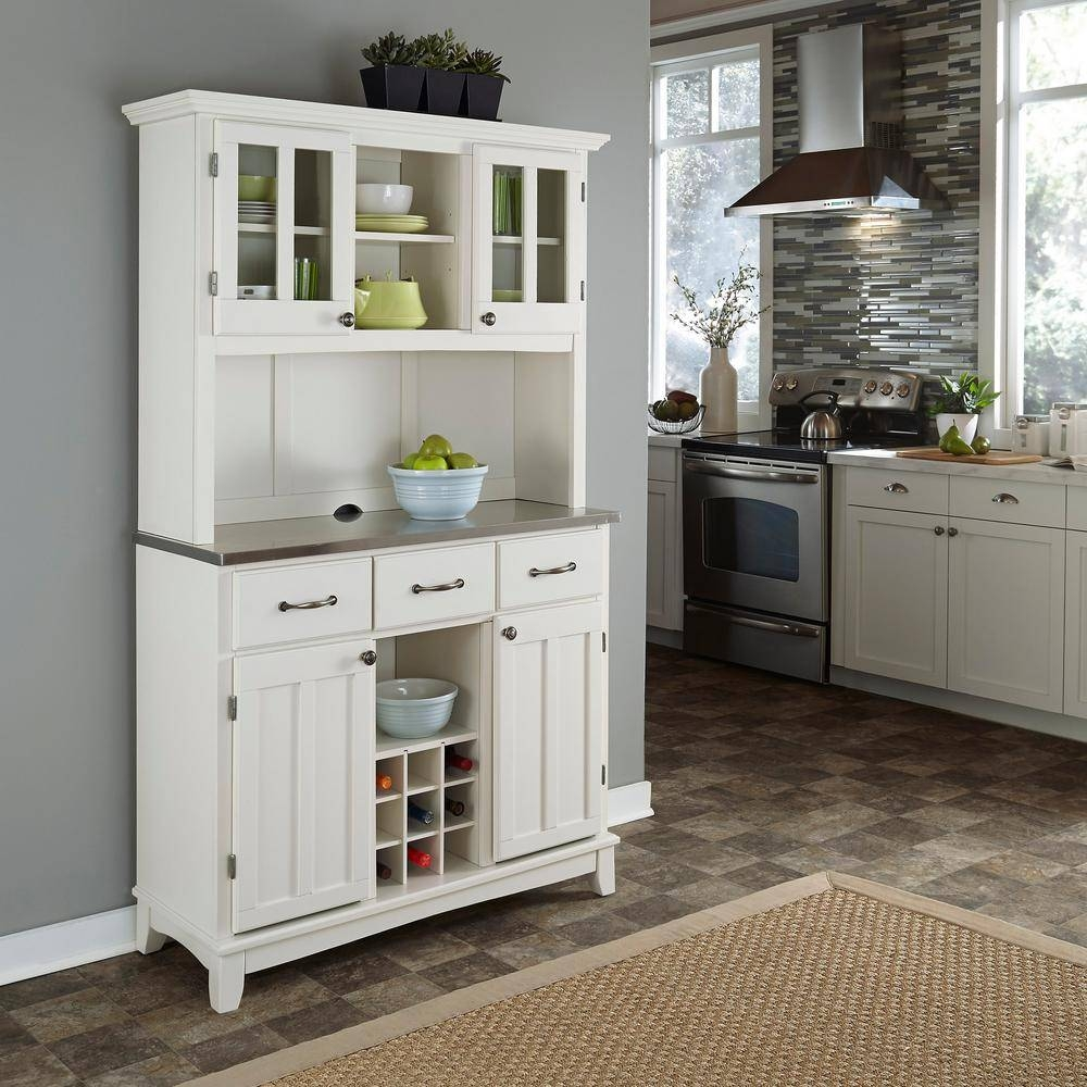 Home Styles White Buffet With Hutch-5100-0023-22 - The Home Depot throughout Large White Sideboards (Image 10 of 30)