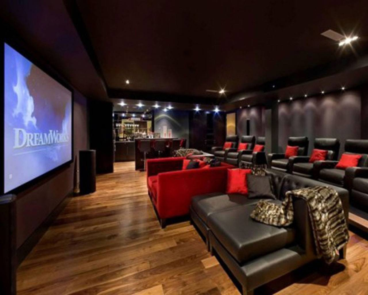 Home Theater Room Design Ideas Red Color Curve Shape Sofas Black regarding Theater  Room Sofas (