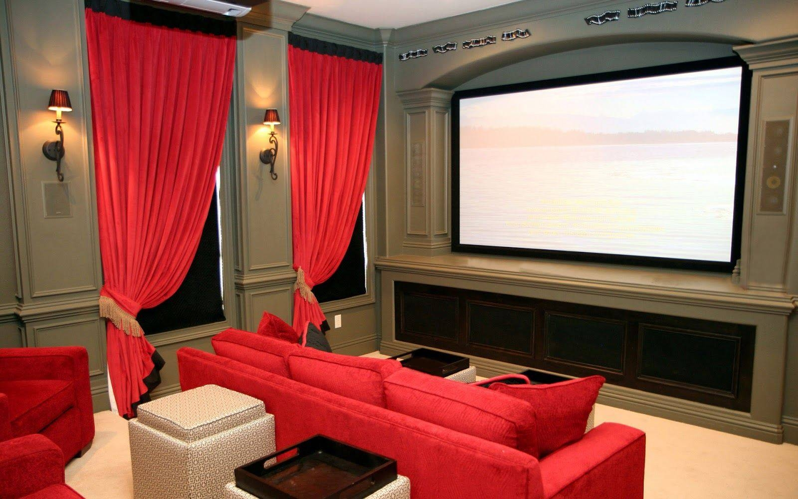 Home Theater Room Design Ideas Red Color Curve Shape Sofas Black with Theater Room Sofas (Image 15 of 30)