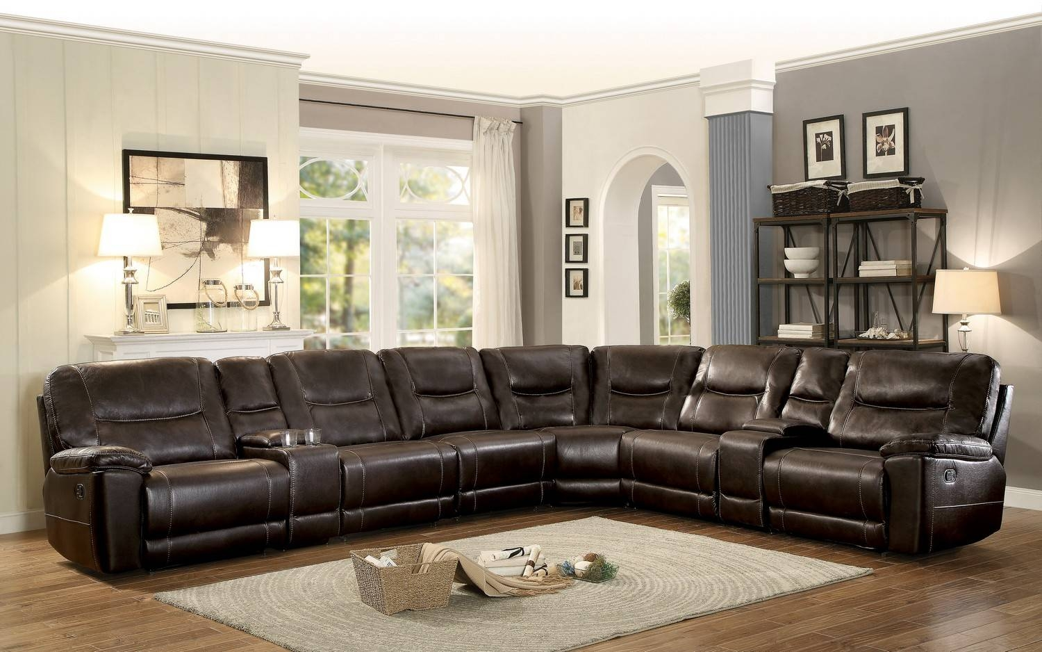 Homelegance Columbus Reclining Sectional Sofa Set A - Breathable in Recliner Sectional Sofas (Image 17 of 30)