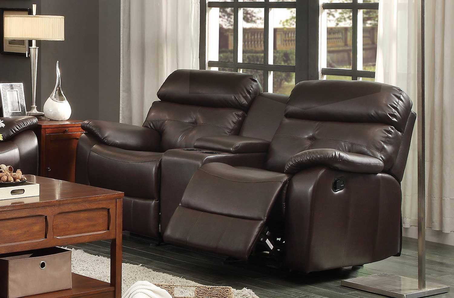 Homelegance Evana Double Glider Reclining Love Seat With Center For 2 Seater Recliner Leather Sofas (View 20 of 30)