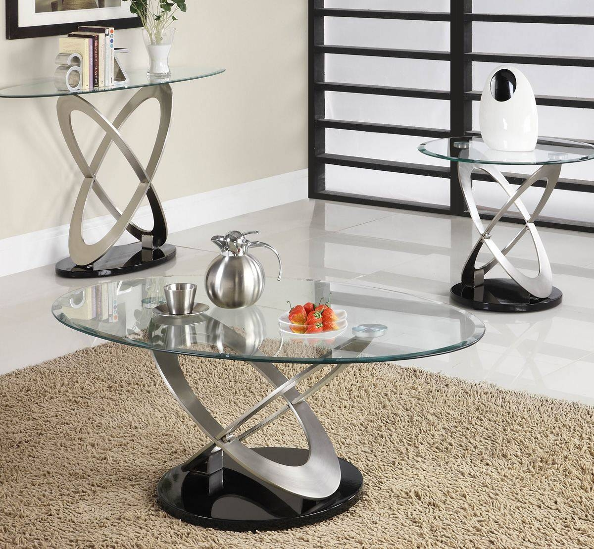 Homelegance Firth Oval Glass Sofa Table In Chrome & Black Metal throughout Sofa Table Chairs (Image 20 of 30)