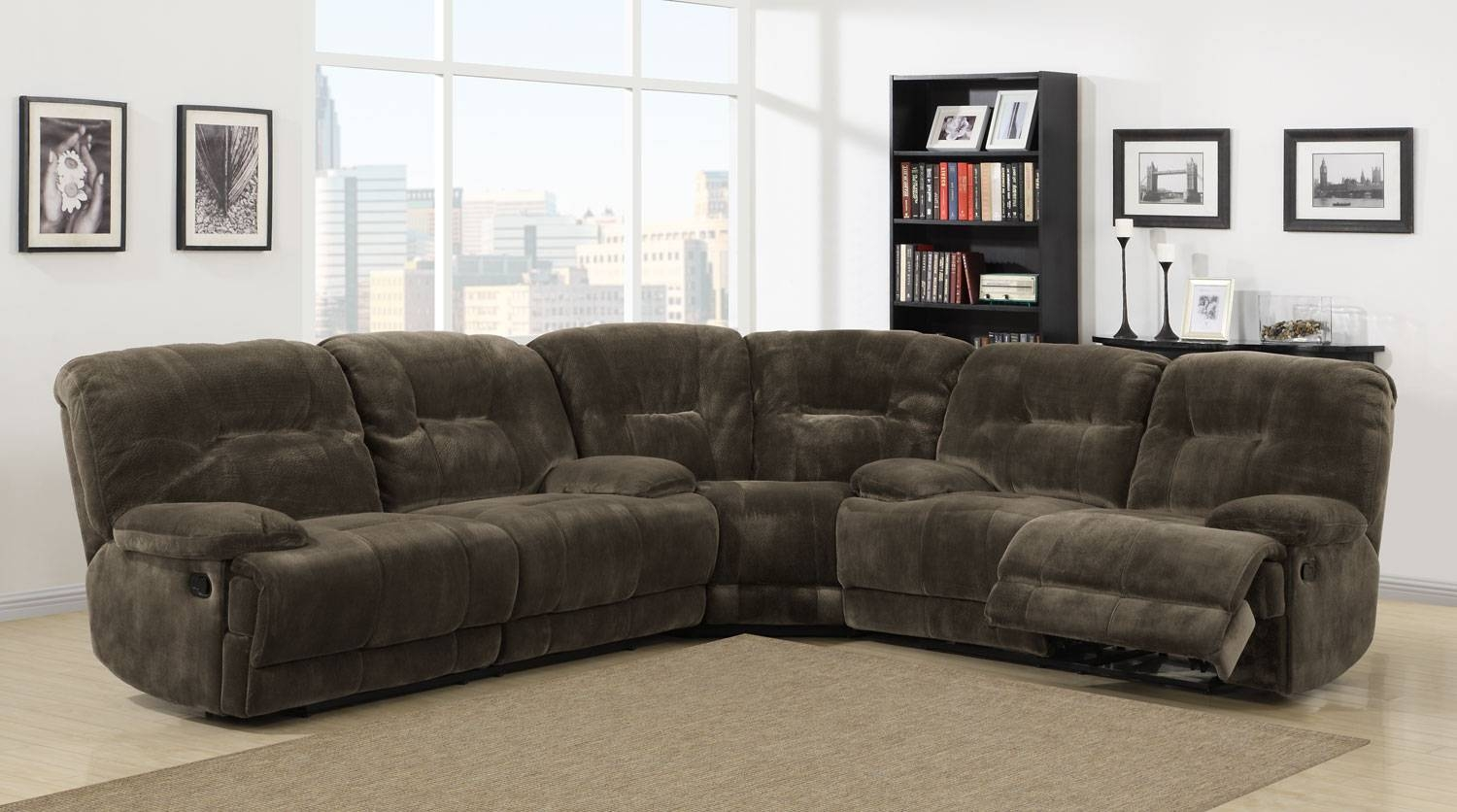 Homelegance Geoffrey Reclining Sectional Sofa Set - Chocolate with Recliner Sectional Sofas (Image 18 of 30)