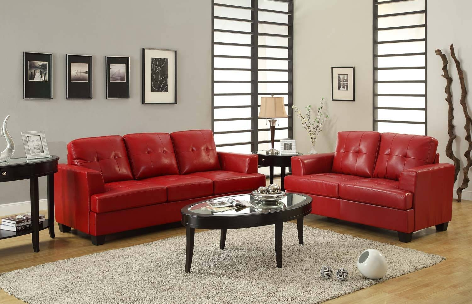 Homelegance Keaton Sofa Set - Red - Bonded Leather Match U9747Red for Red Sofas and Chairs (Image 10 of 30)