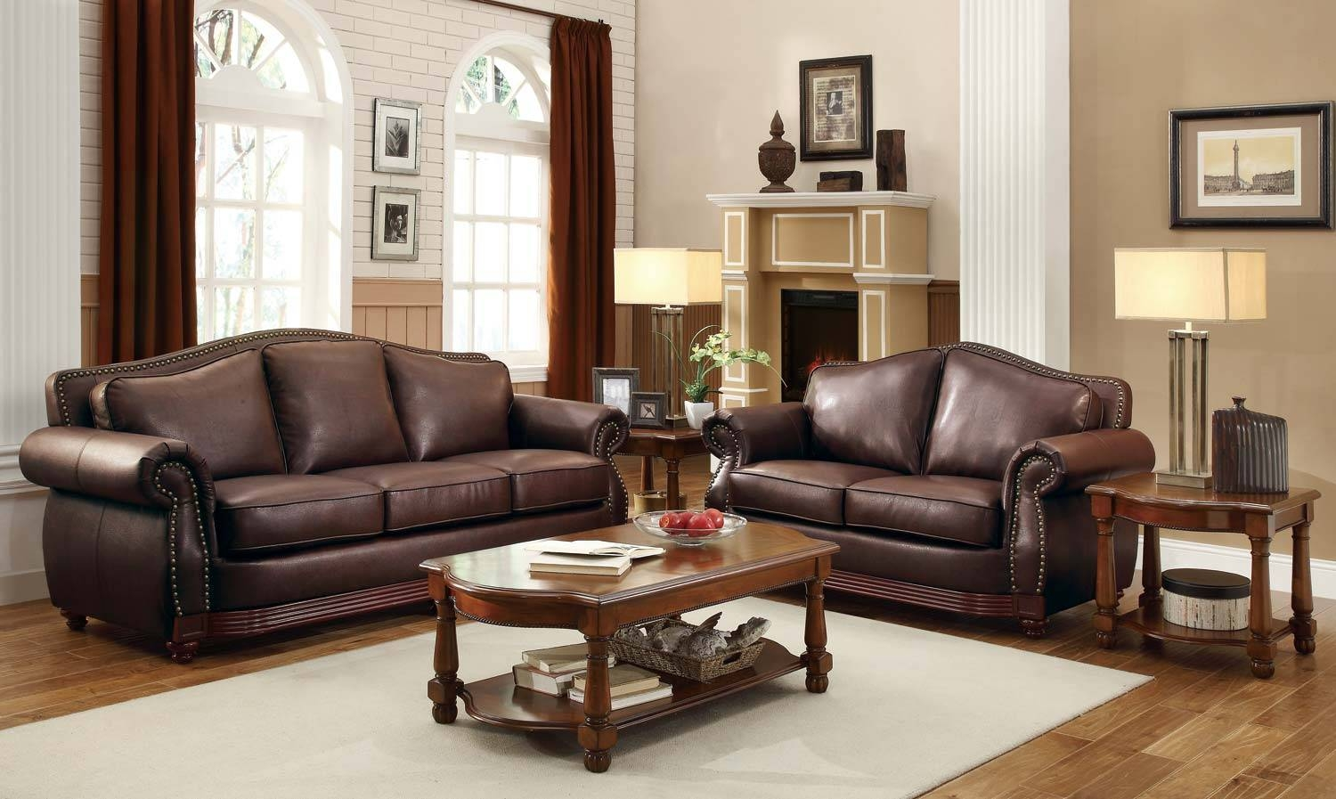 Homelegance Midwood Bonded Leather Sofa Collection - Dark Brown regarding Traditional Leather Couch (Image 12 of 30)