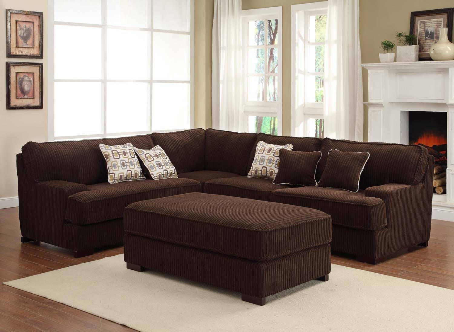 Homelegance Minnis Sectional Sofa Set - Chocolate U9759Ch-Sect throughout Chocolate Brown Sectional Sofa (Image 20 of 30)