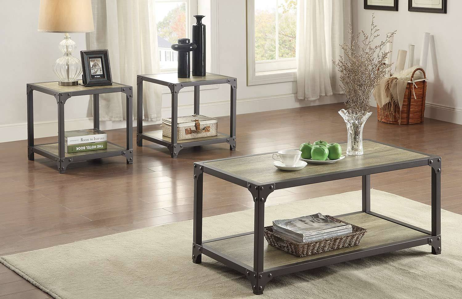 Homelegance Rumi Coffee Table Set - Light Burnished Wood With in Tv Stand Coffee Table Sets (Image 18 of 30)