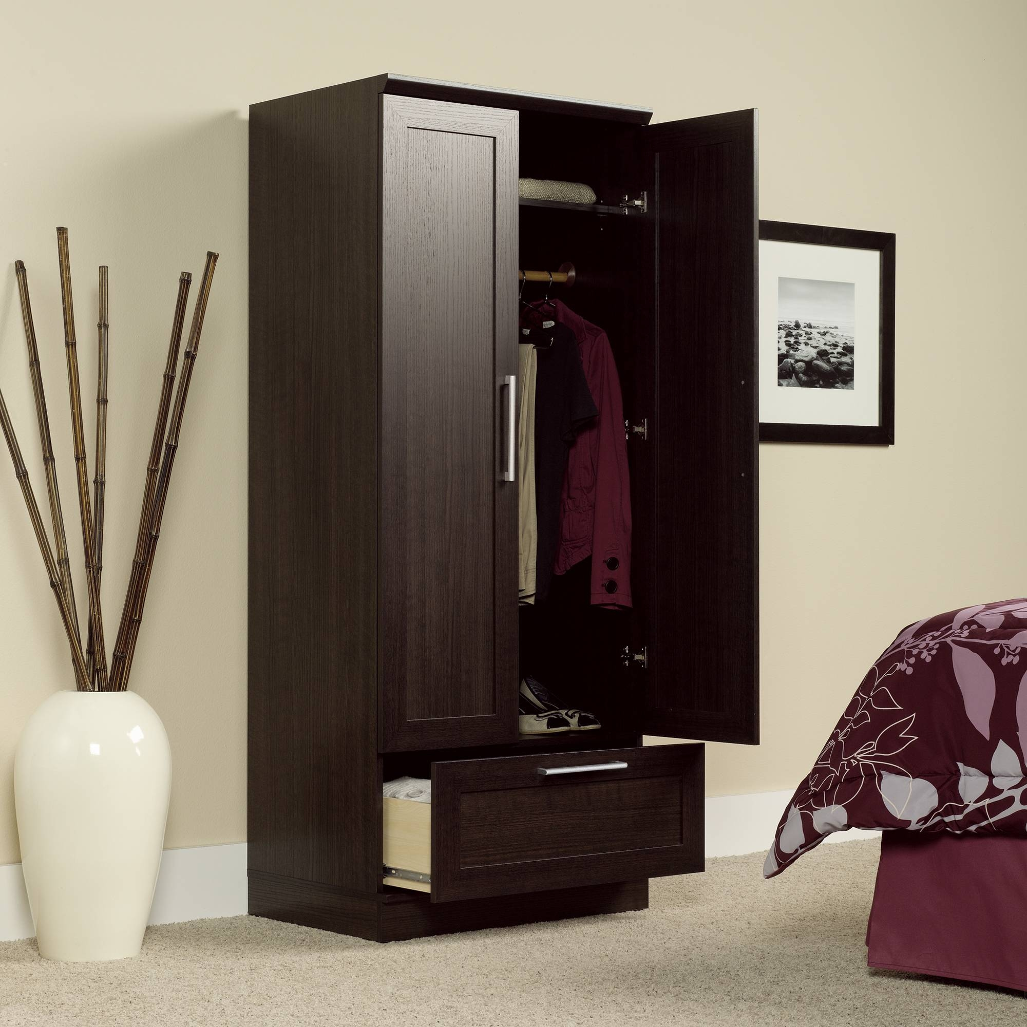 Homeplus | Wardrobe Storage Cabinet | 411312 | Sauder inside Dark Wood Wardrobe Cheap (Image 15 of 30)