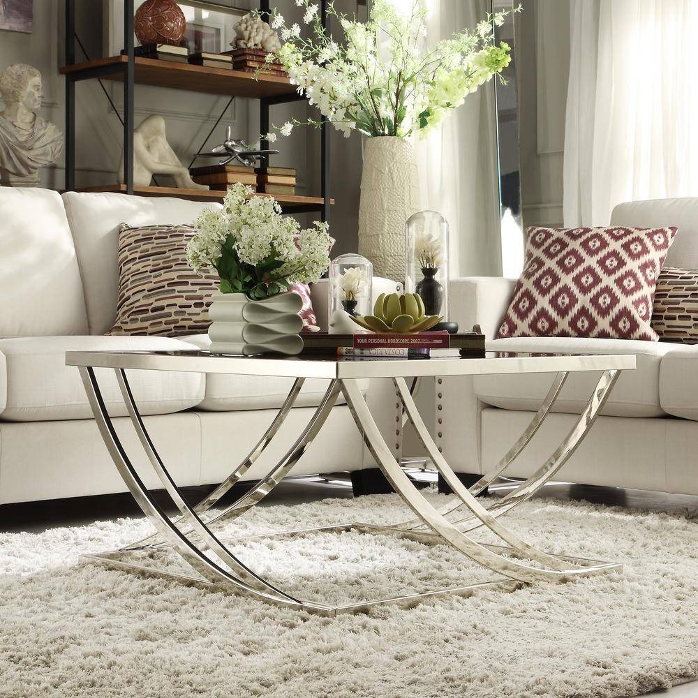 Homesullivan Melrose Black And Chrome Coffee Table-40338L212W(3A within Chrome Coffee Tables (Image 17 of 30)