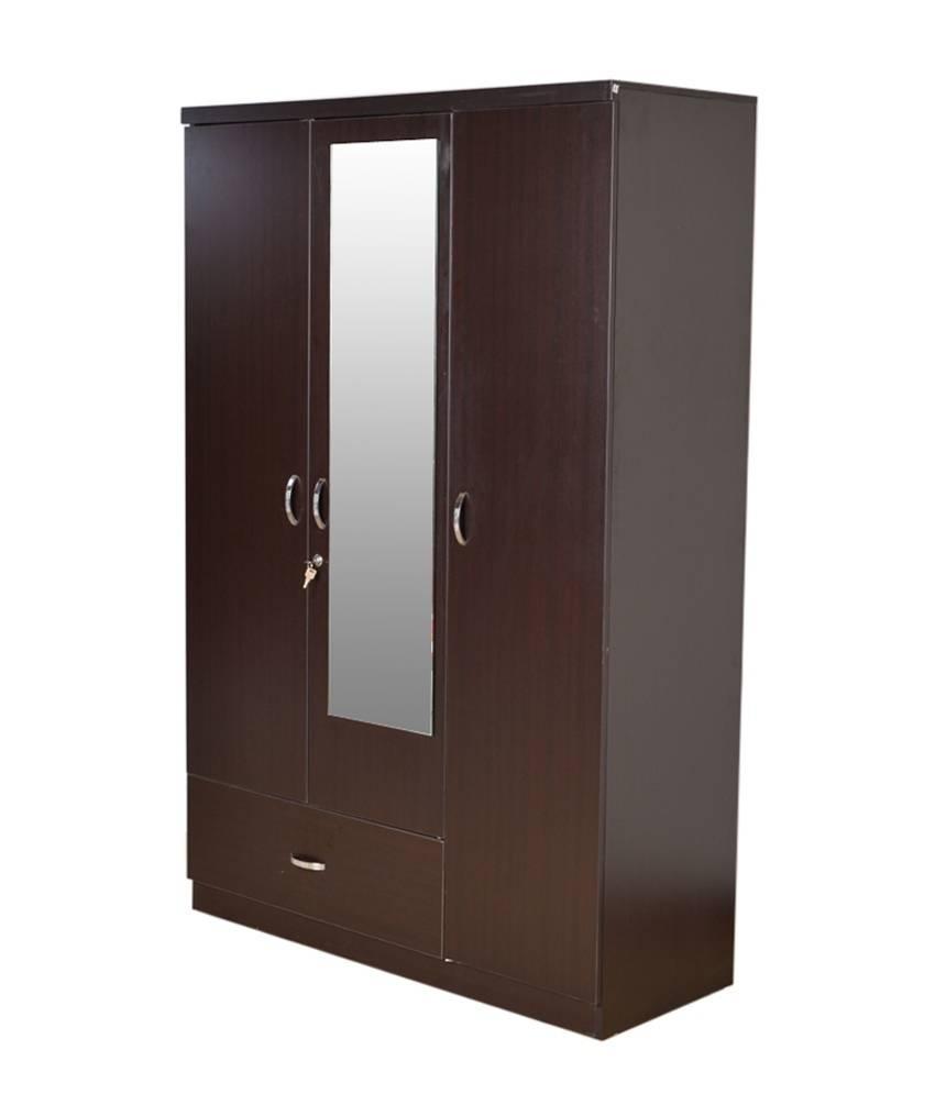 Hometown Utsav 3 Door Wardrobe With Mirror: Buy Online At Best for 3 Door Wardrobe With Drawers And Shelves (Image 16 of 30)