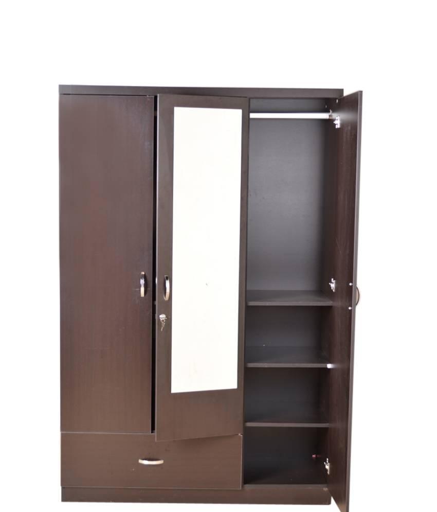 Hometown Utsav 3 Door Wardrobe With Mirror: Buy Online At Best with 3 Door Wardrobe With Drawers and Shelves (Image 17 of 30)