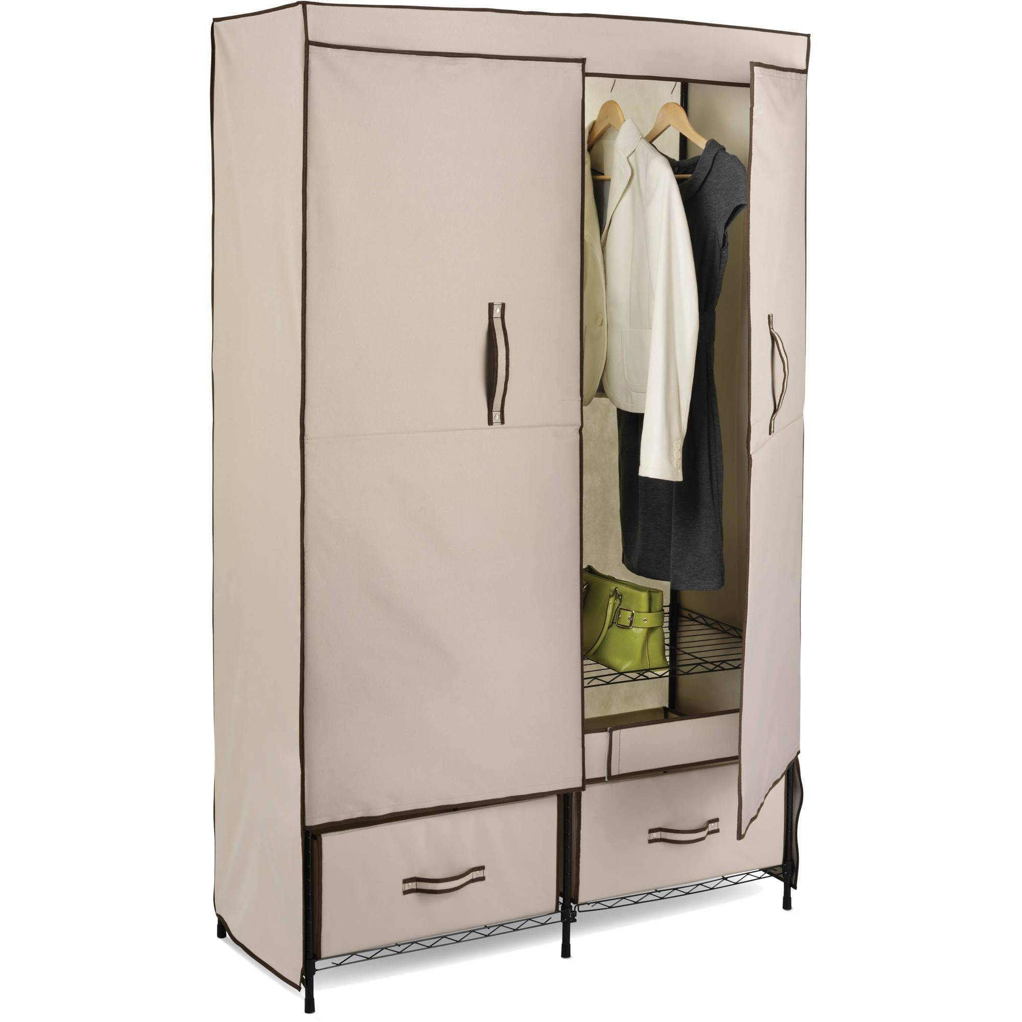 Honey Can Do Double-Door Wardrobe With Two Drawers - Walmart for Wardrobe With Shelves and Drawers (Image 15 of 30)