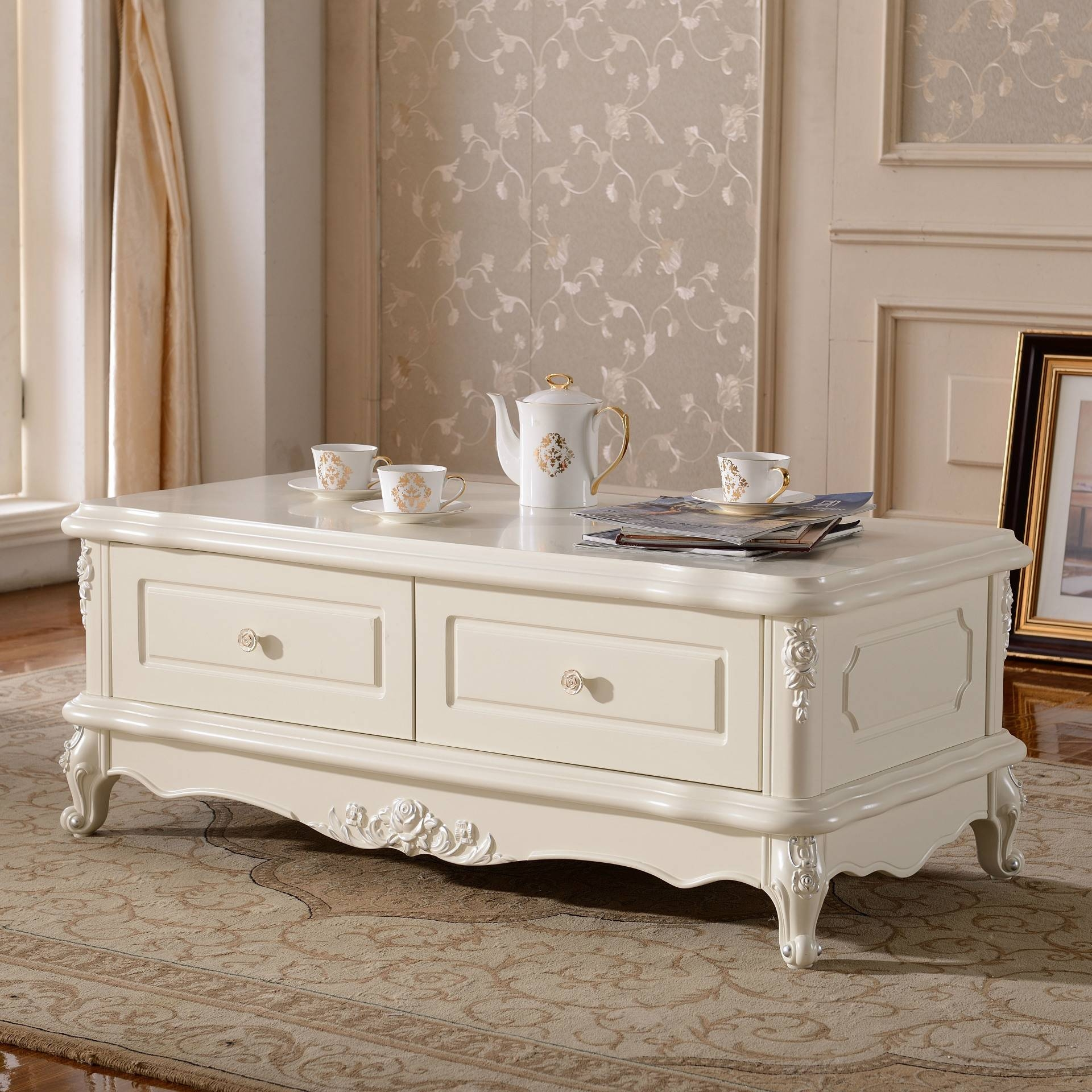 Hot Coffee Continental French Romantic French Carved Storage throughout French White Coffee Tables (Image 24 of 30)