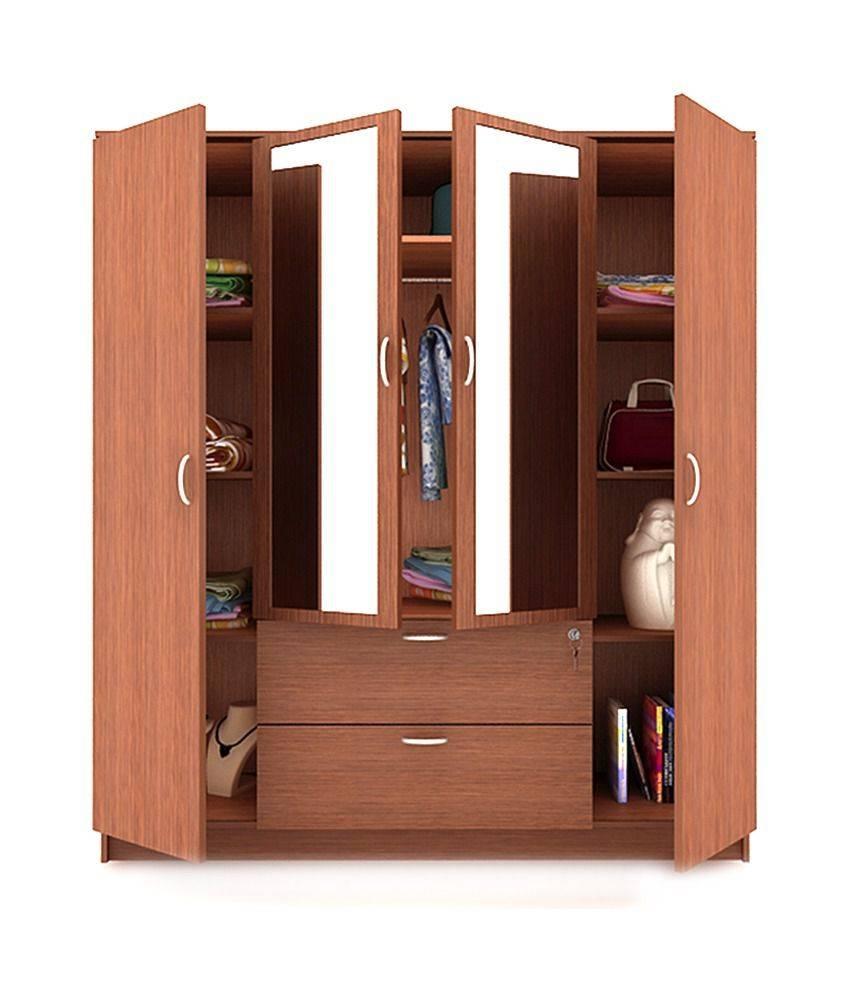 Housefull Jacob 4 Door Wardrobe With Drawer & Mirror: Buy Online regarding 4 Door Mirrored Wardrobes (Image 9 of 15)