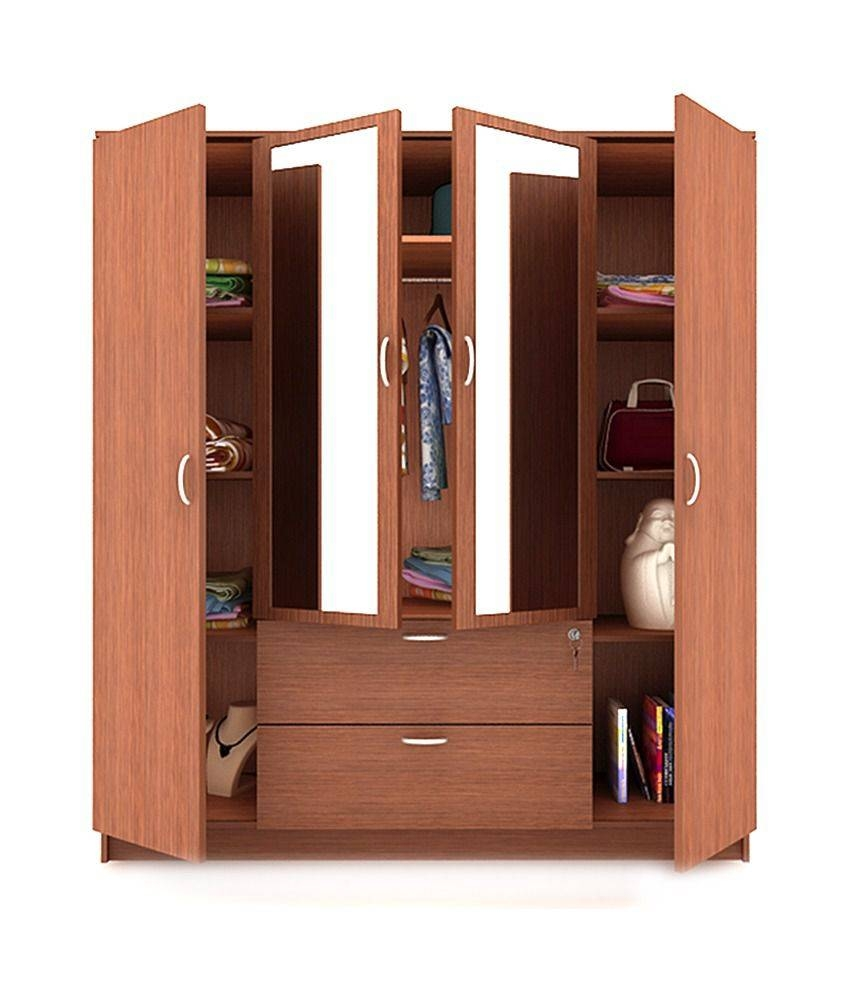 Housefull Jacob 4 Door Wardrobe With Drawer & Mirror: Buy Online With Regard To Wardrobes With Mirror And Drawers (View 6 of 15)