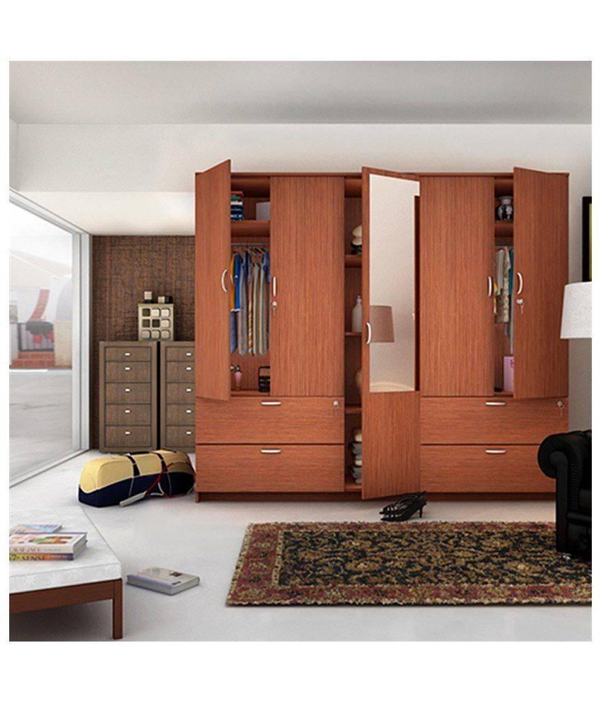 Housefull Jacob 5 Door Wardrobe With Drawers & Mirror: Buy Online Intended For 5 Door Wardrobes (View 14 of 15)