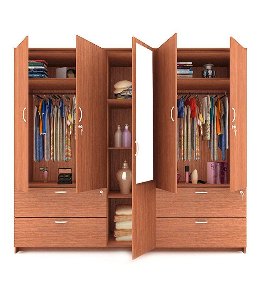 Housefull Jacob 5 Door Wardrobe With Drawers & Mirror: Buy Online pertaining to 4 Door Wardrobes With Mirror And Drawers (Image 11 of 15)