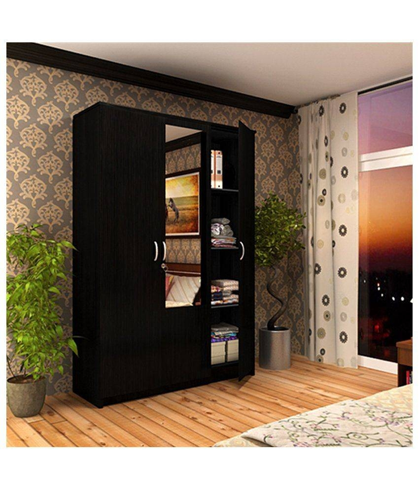 Housefull John 3 Door Wardrobe With Mirror: Buy Online At Best for 3 Doors Wardrobes With Mirror (Image 7 of 15)