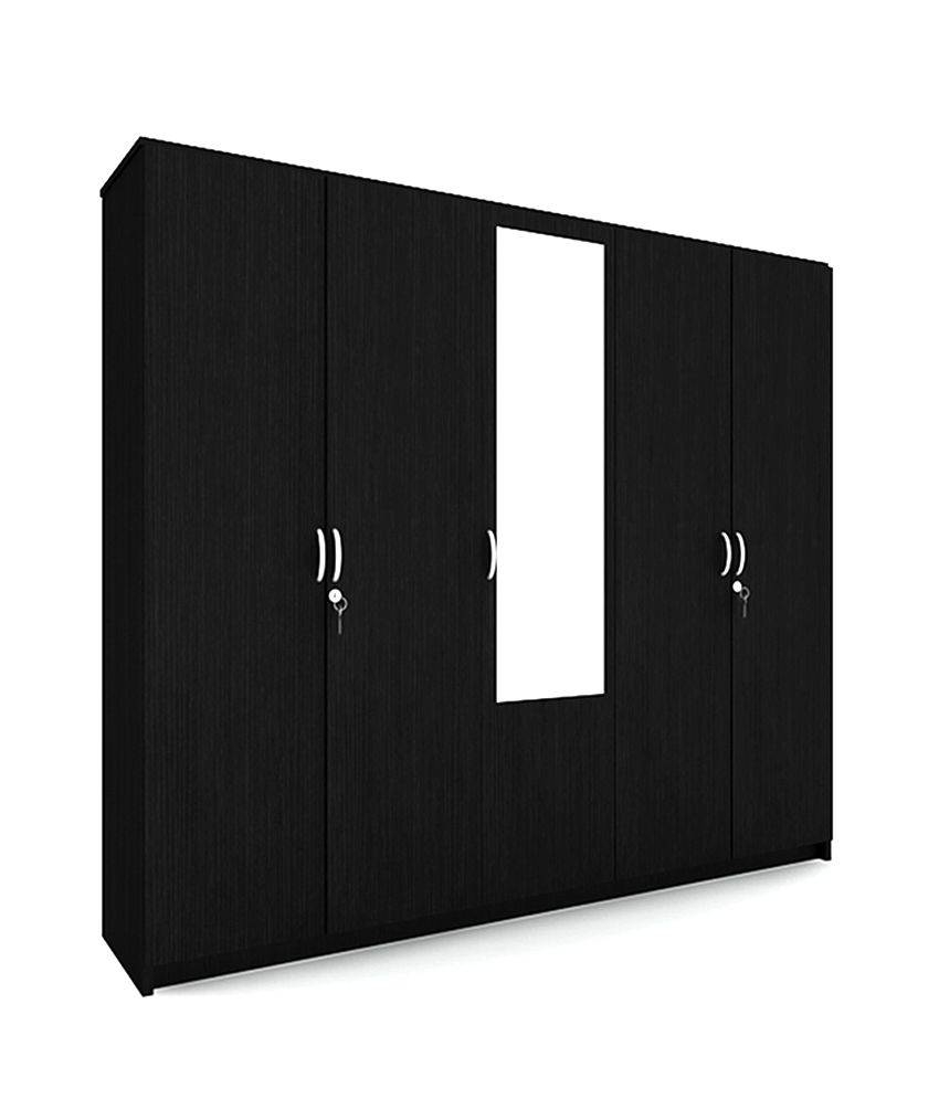 Housefull John 5 Door Wardrobe With Mirror: Buy Online At Best regarding 5 Door Mirrored Wardrobes (Image 8 of 15)
