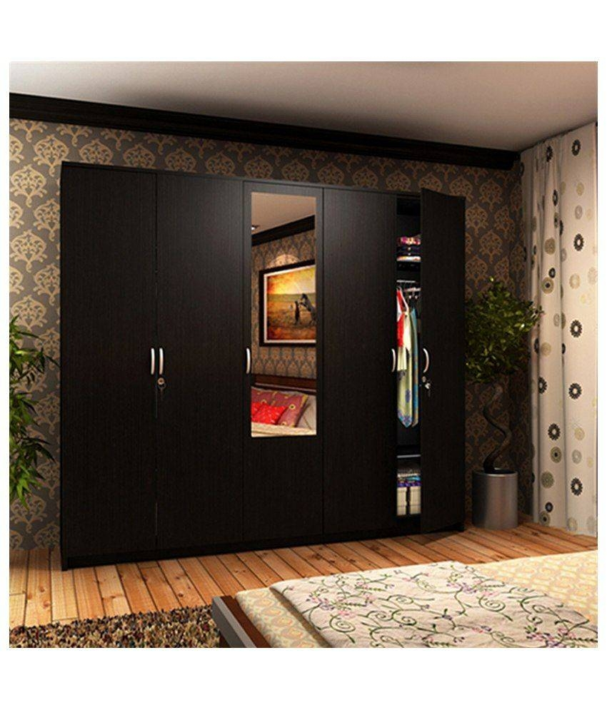 Housefull John 5 Door Wardrobe With Mirror: Buy Online At Best with 5 Door Mirrored Wardrobes (Image 9 of 15)