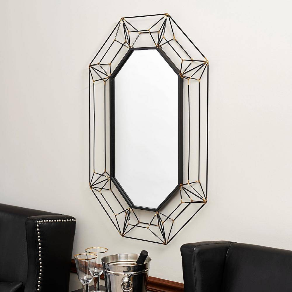 Household Essentials Large Oval Wall Mirror In Black Metal-2358-1 within Oval Wall Mirrors (Image 13 of 25)