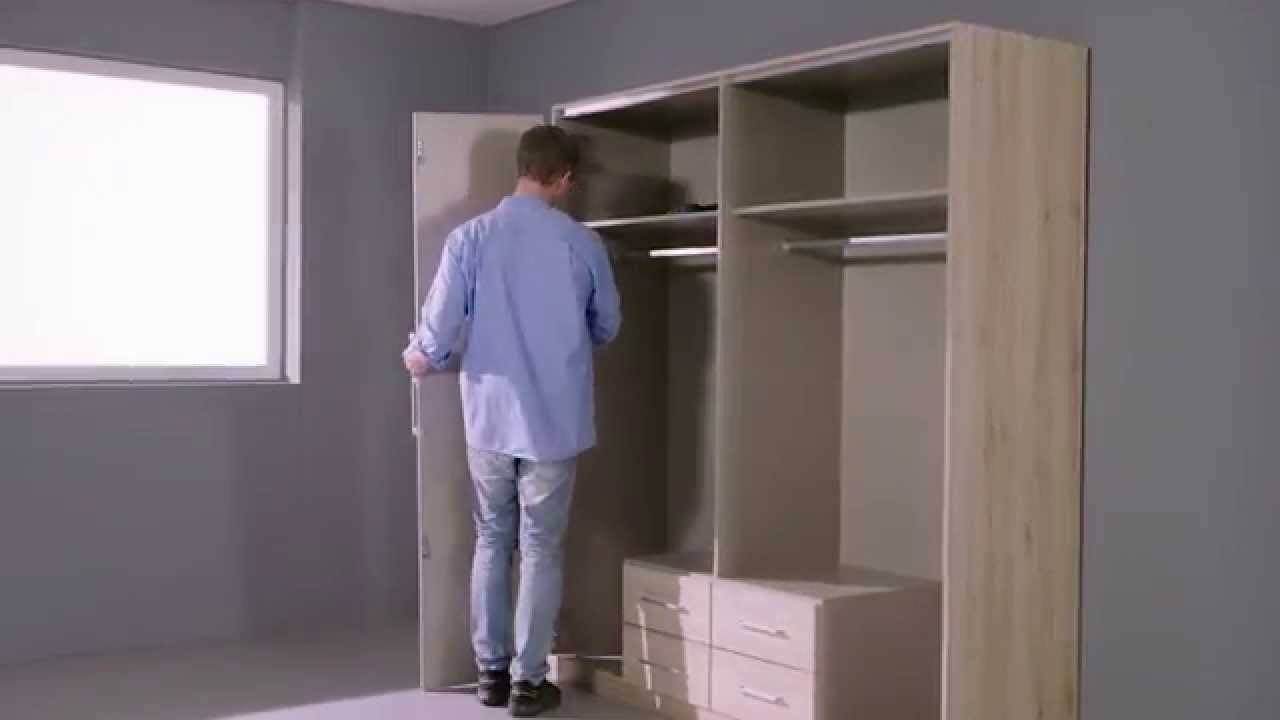 How To Assemble The Moreno Folding Door Wardrobe – Youtube Throughout Self Assembly Wardrobes (View 13 of 15)
