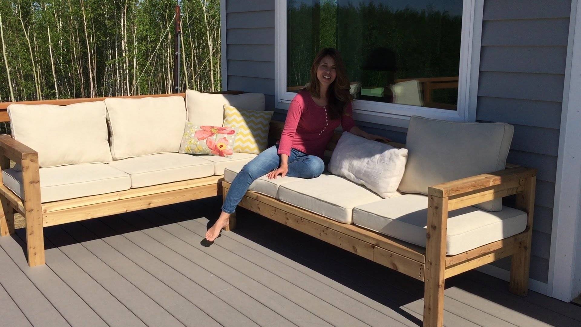 How To Build A 2X4 Outdoor Sectional Tutorial - Youtube inside Diy Sectional Sofa (Image 19 of 30)
