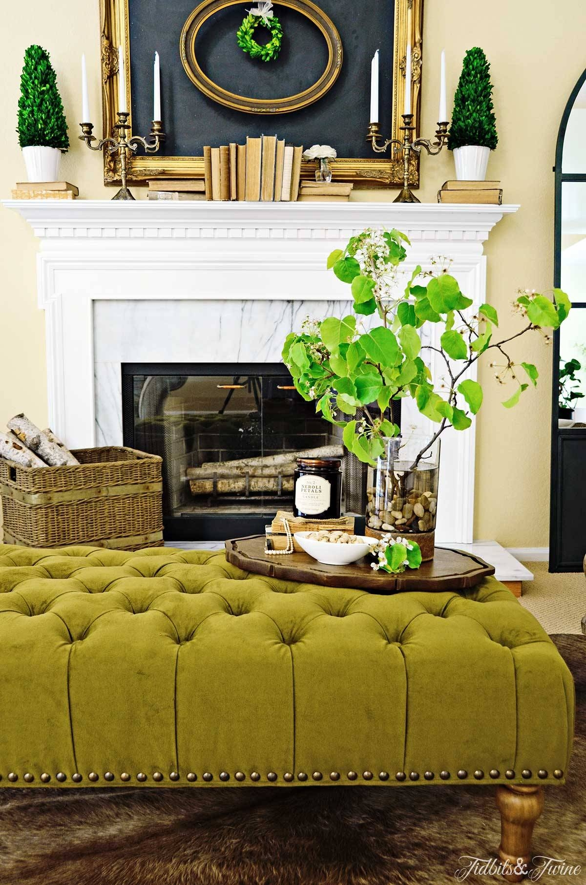 How To Create A Coffee Table Vignette - Discover inside Green Ottoman Coffee Tables (Image 20 of 30)