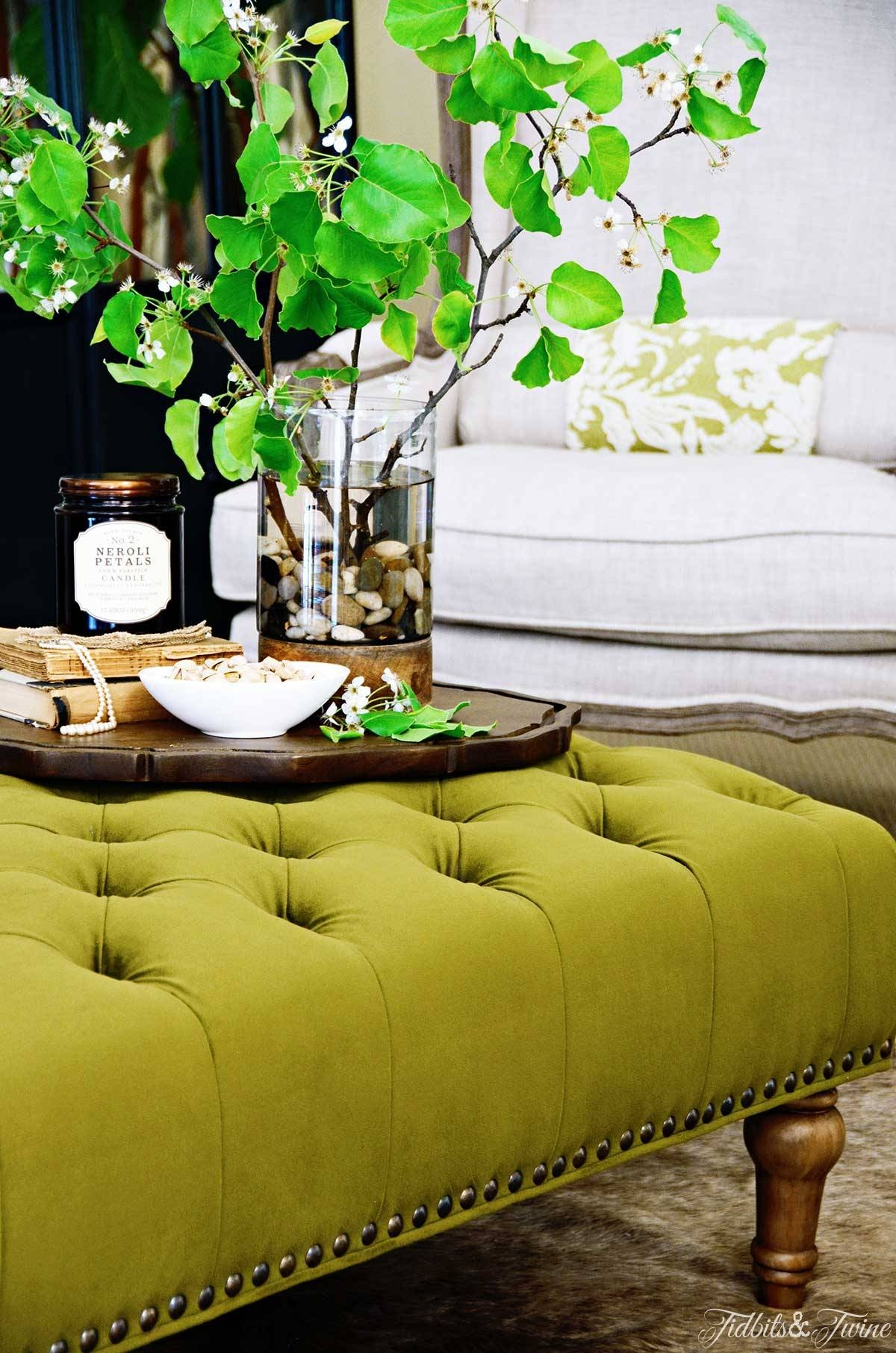 How To Create A Coffee Table Vignette - Discover regarding Green Ottoman Coffee Tables (Image 22 of 30)