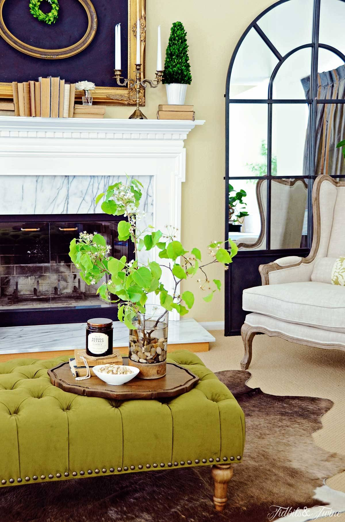 How To Create A Coffee Table Vignette - Discover regarding Green Ottoman Coffee Tables (Image 21 of 30)