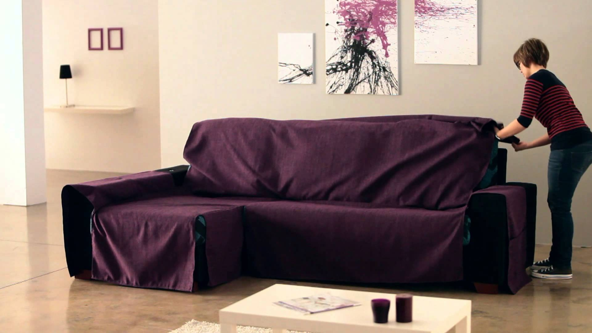 How To Put An Universal Chaise Sofa Covers - Youtube intended for Chaise Sofa Covers (Image 15 of 30)