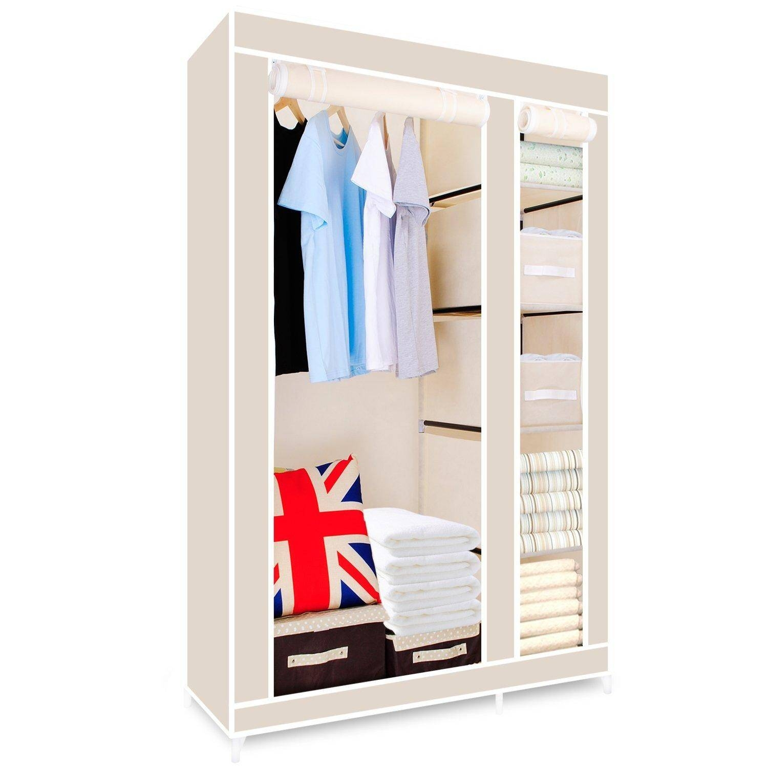 Hst Mall Double Canvas Wardrobe Cupboard Clothes Storage Solution throughout Double Canvas Wardrobe Rail Clothes Storage Cupboard (Image 17 of 30)