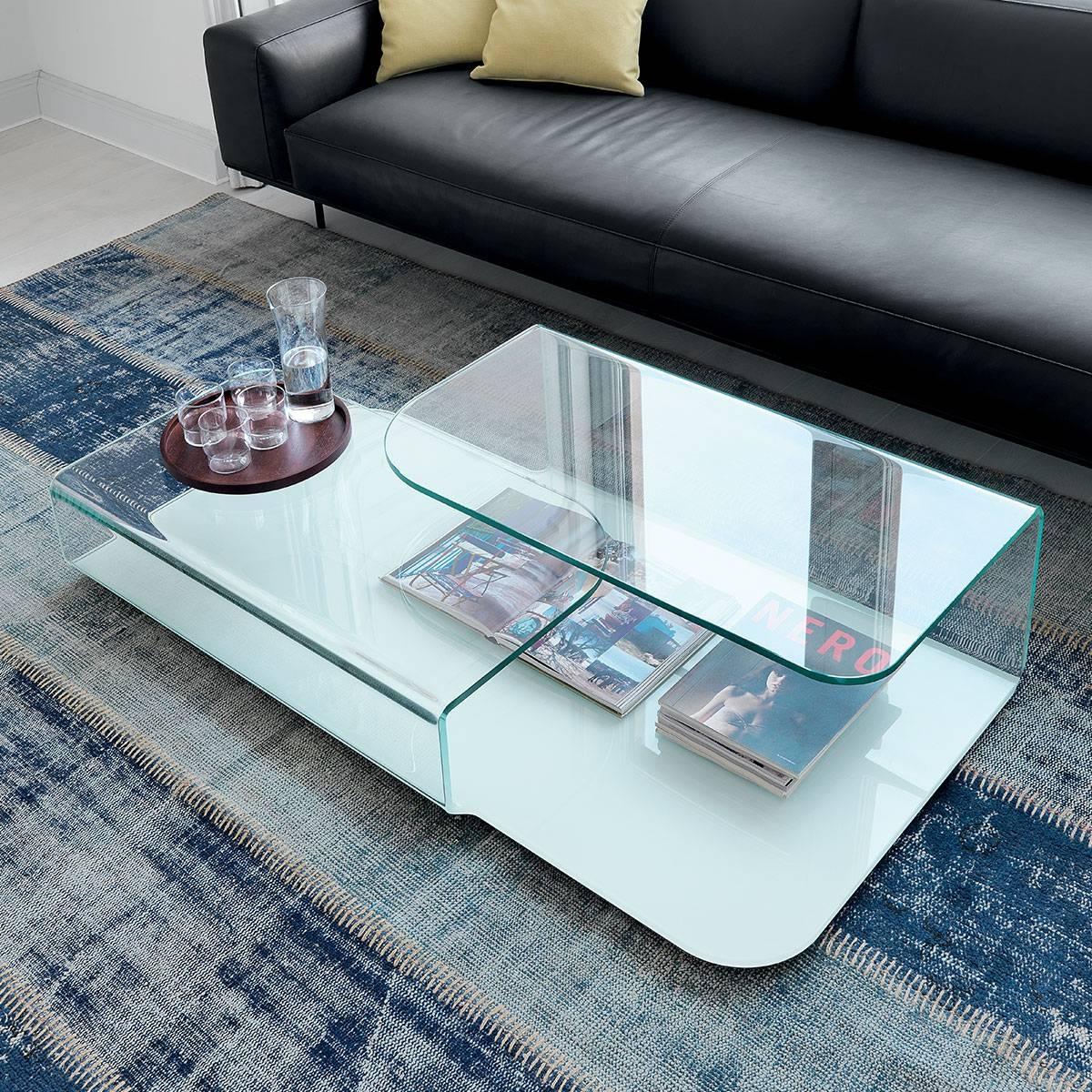 Hug Curved Glass Coffee Table - Klarity - Glass Furniture for Curved Glass Coffee Tables (Image 22 of 30)