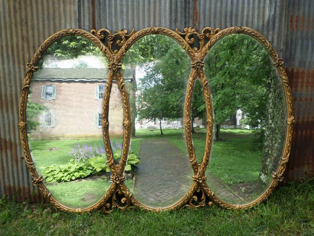 Huge Vintage Triple Mirror Room Size Mirror Gold Baroque in Triple Oval Mirrors (Image 11 of 25)