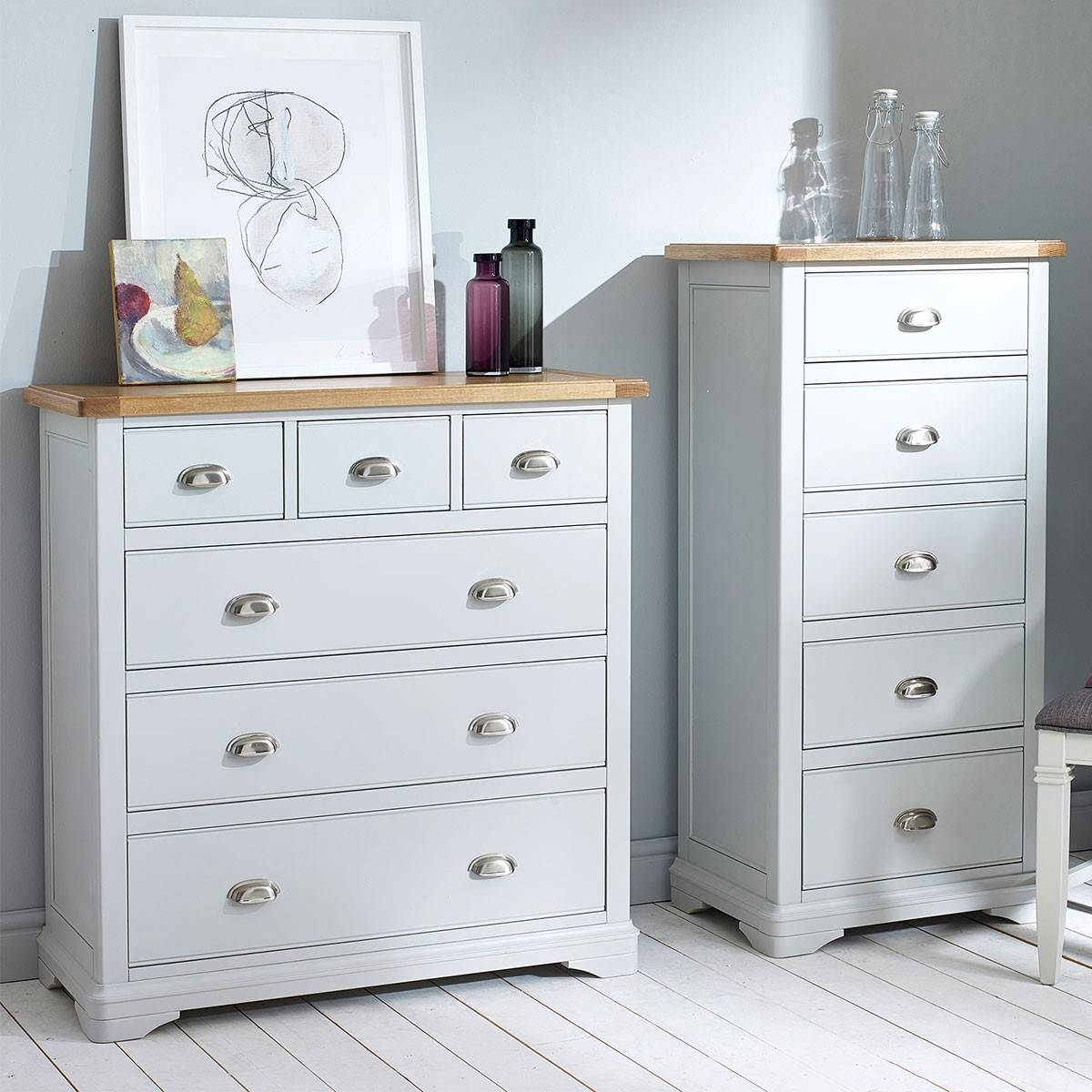 Hutch® - Harbury Light Grey Painted Double Wardrobe With Drawers intended for Grey Painted Wardrobes (Image 7 of 15)