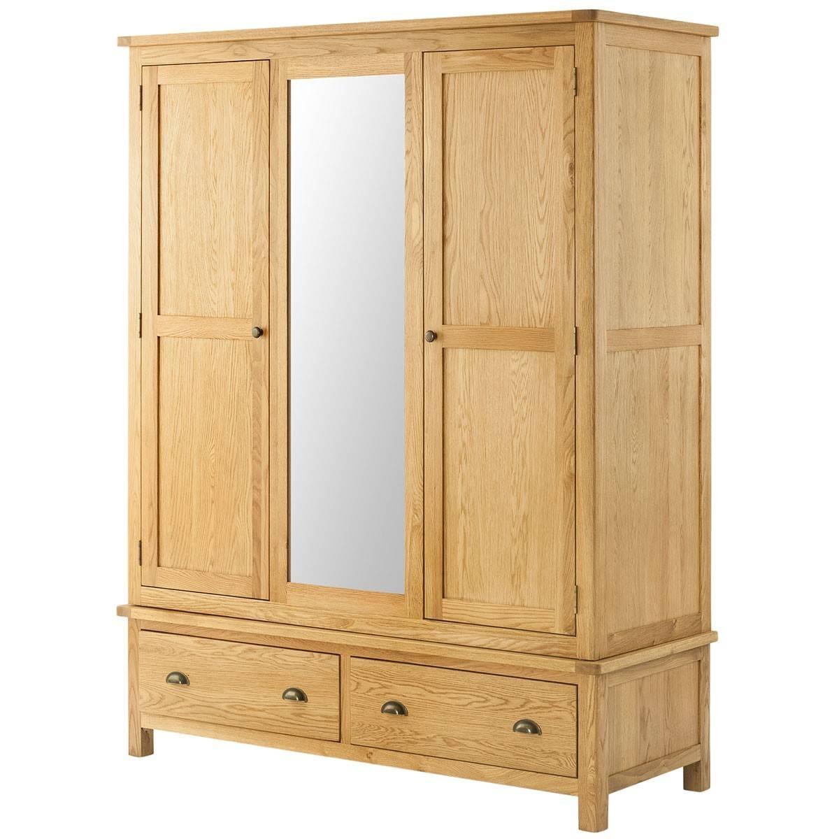 Hutch® - Portsmouth Oak Triple Wardrobe With Mirror throughout Triple Wardrobes With Mirror (Image 6 of 15)