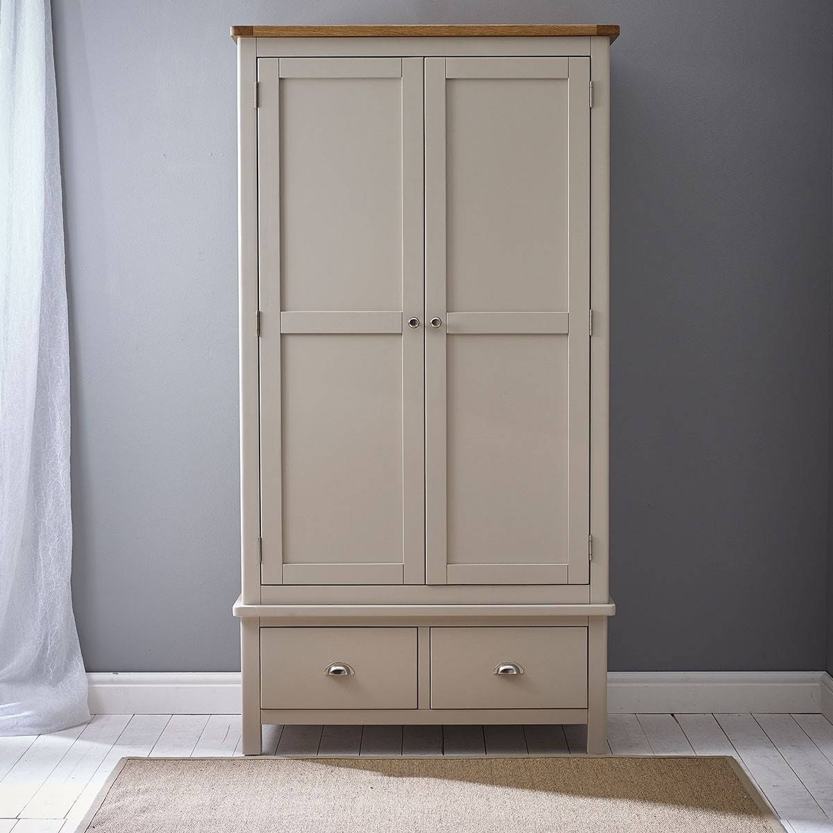 Hutch® - Portsmouth Stone Grey Painted Double Wardrobe 2 Door 2 Drawer for Grey Painted Wardrobes (Image 9 of 15)