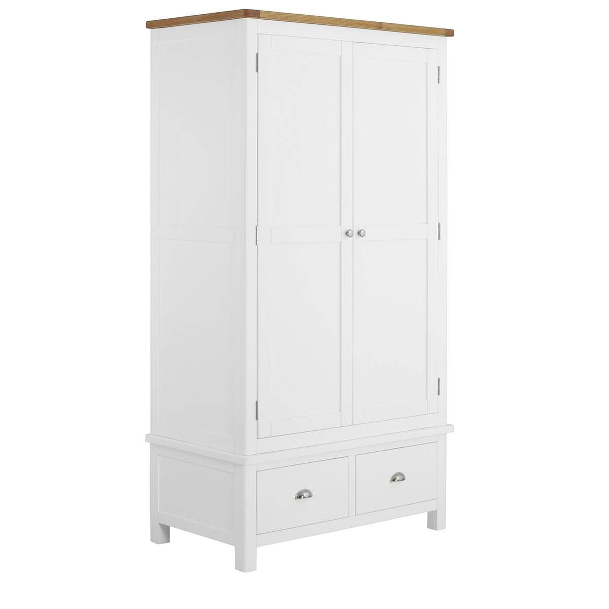Hutch® - Portsmouth White Painted Double Wardrobe 2 Door 2 Drawer in White Double Wardrobes With Drawers (Image 9 of 15)