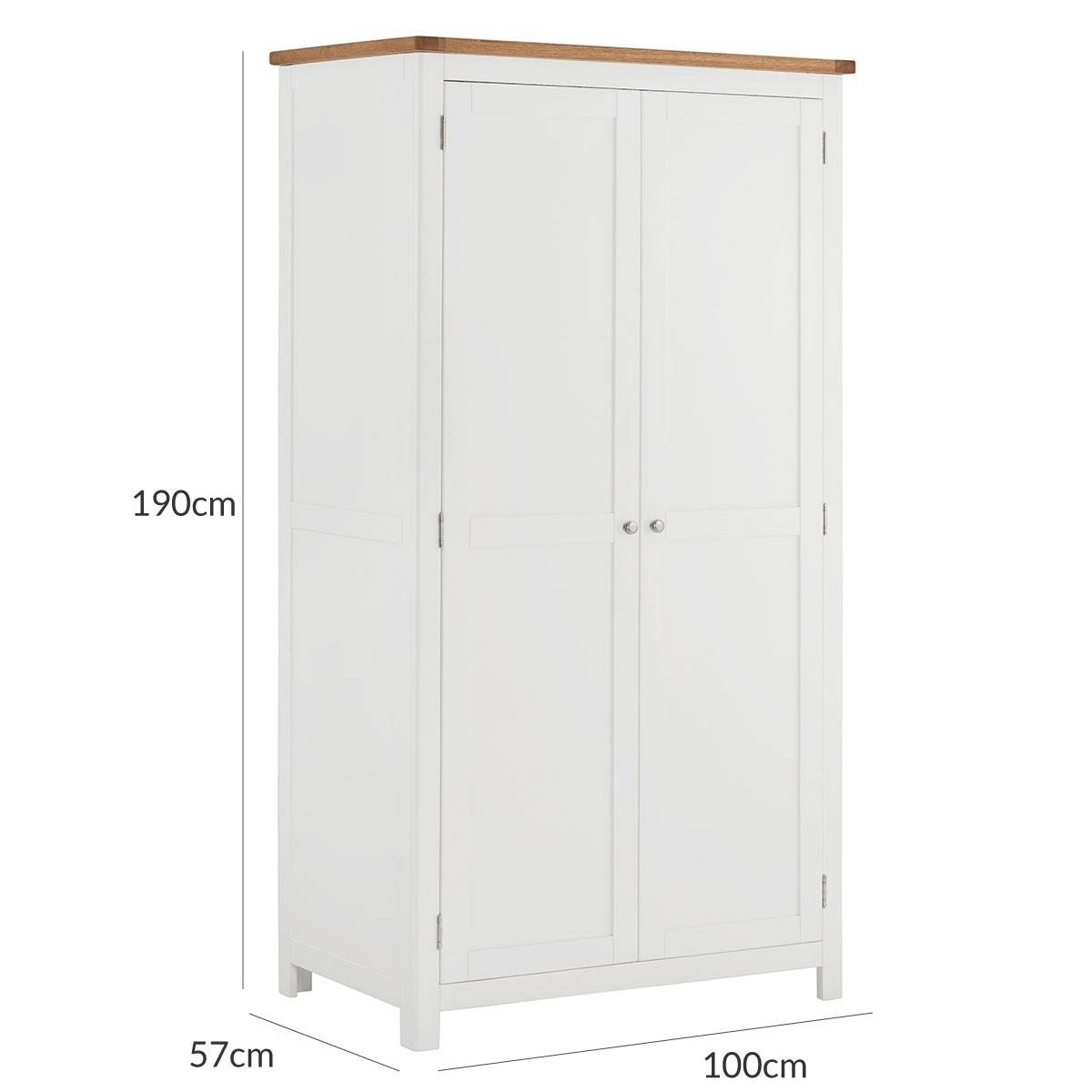 Hutch® - Portsmouth White Painted Double Wardrobe Full Hanging 2 Door throughout White Painted Wardrobes (Image 4 of 15)