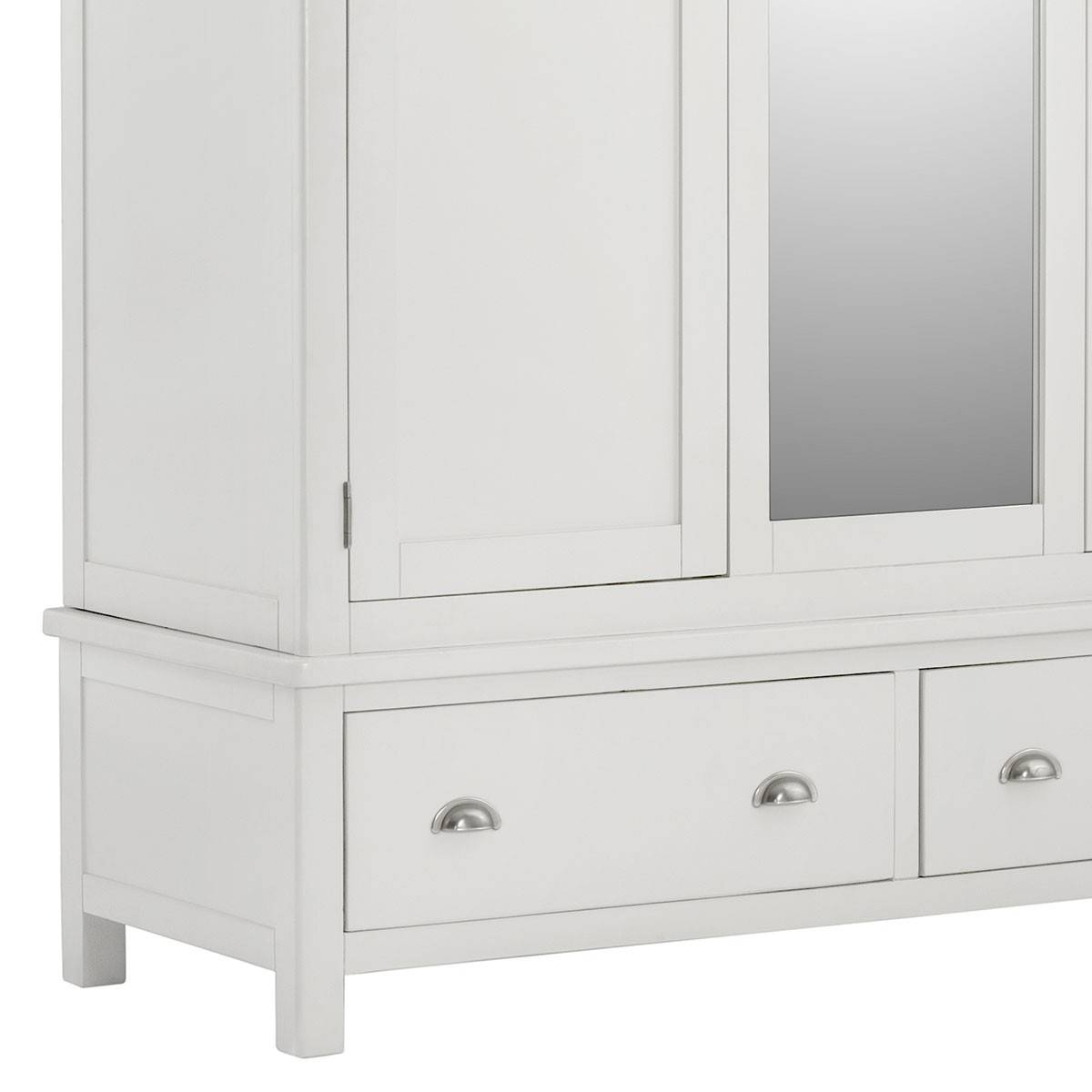 Hutch® - Portsmouth White Painted Triple Wardrobe With Mirror And with White Wardrobes With Drawers (Image 6 of 15)