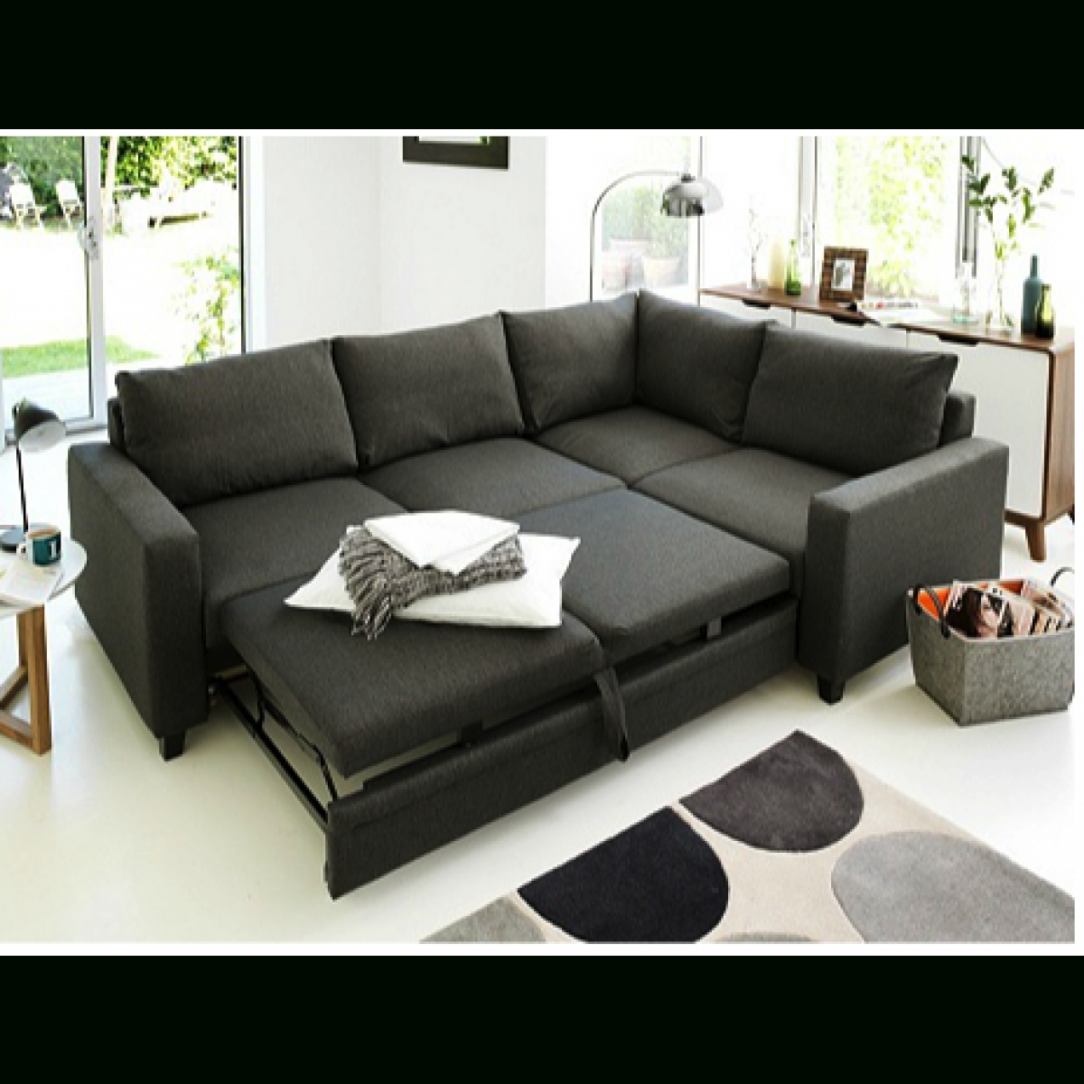 Hygena Seattle Right Hand Corner Sofa Bed - Charcoal. - Furnico regarding Cheap Corner Sofa Beds (Image 16 of 30)