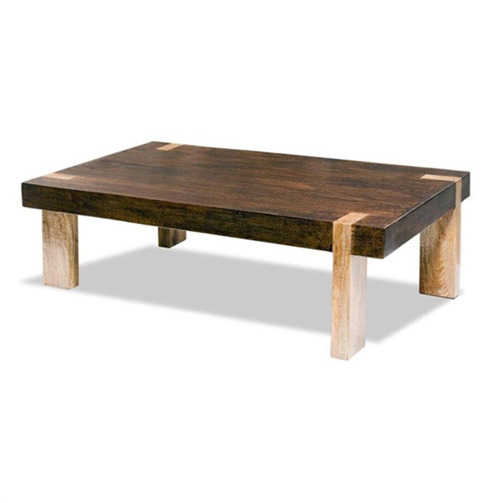 Ibiza Solid Wood Chunky Rustic Contemporary Rectangle Coffee Table throughout Chunky Wood Coffee Tables (Image 14 of 30)