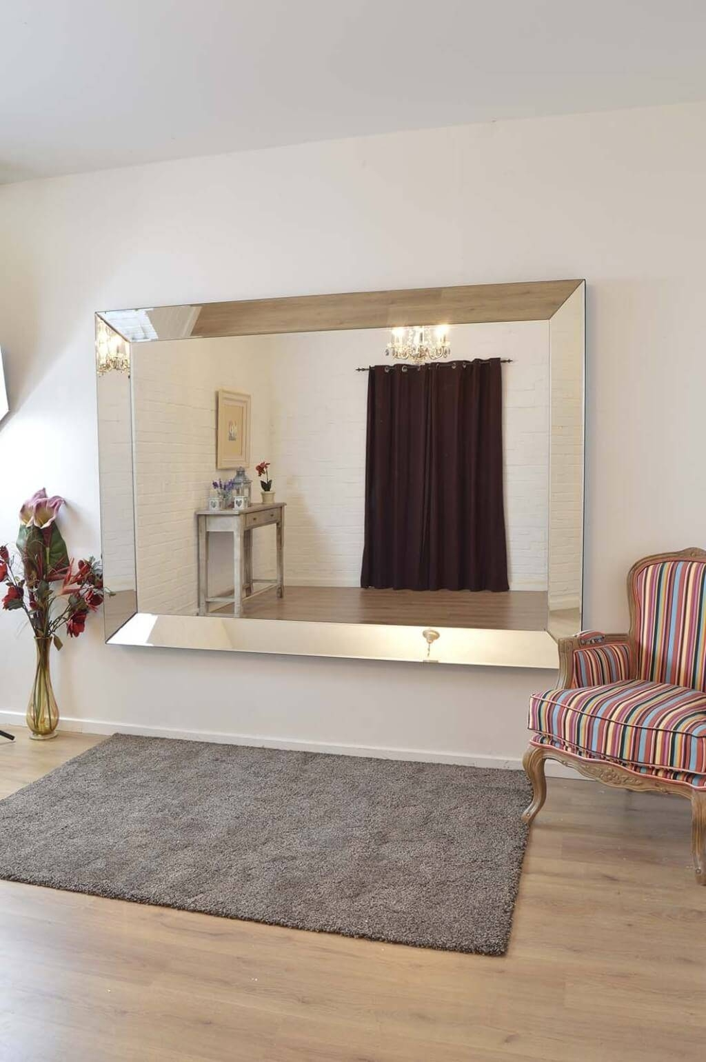 Ideas : Wondrous Living Decorating Mirror For Living Room Modern With Regard To Large Frameless Wall Mirrors (View 8 of 25)