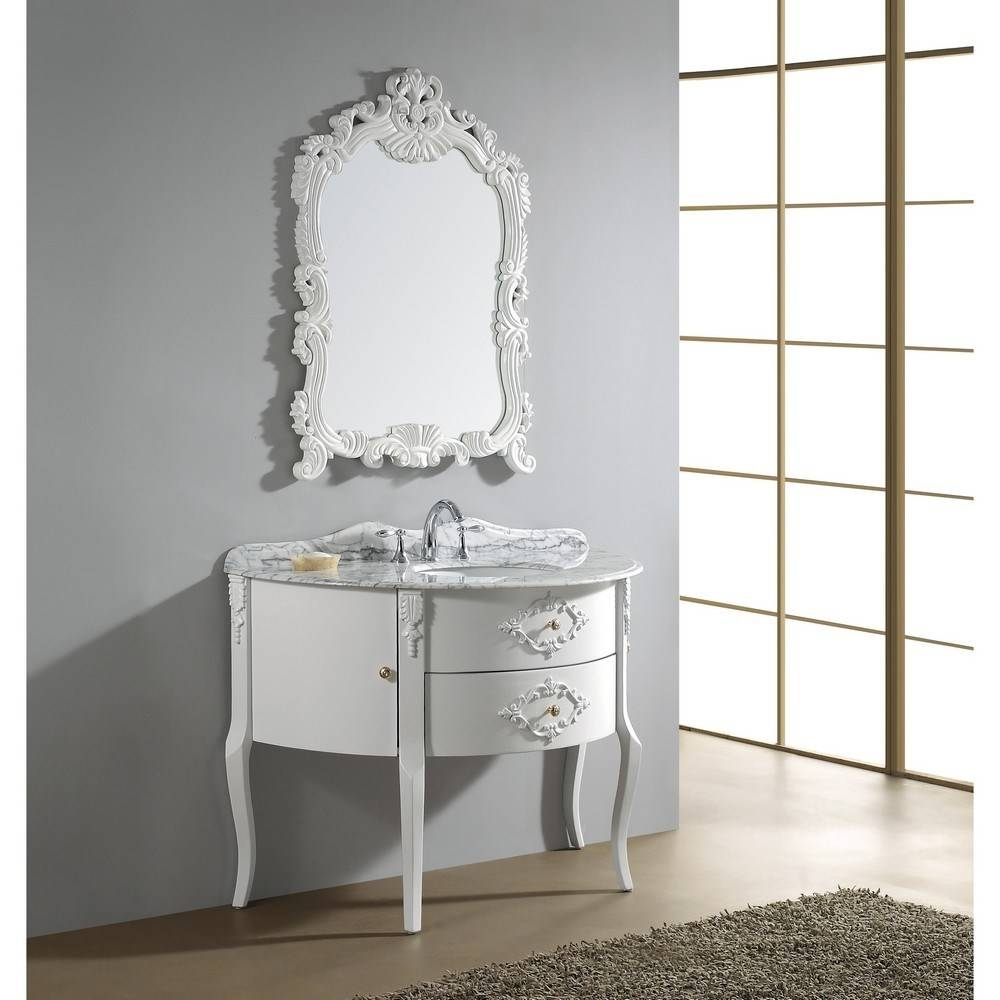 Idyllic Apartment Home Bathroom Furniture Design Integrating pertaining to White Antique Mirrors (Image 19 of 25)