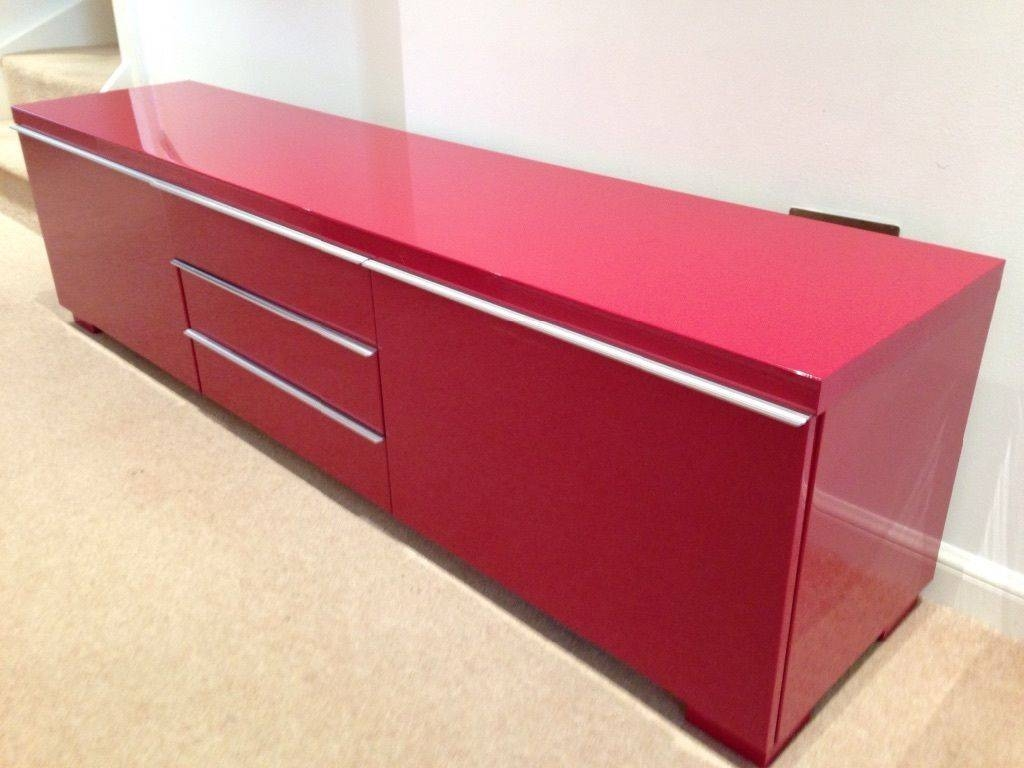 Ikea Besta Burs High Gloss Red Tv Unit | In Baillieston, Glasgow in Red High Gloss Sideboards (Image 17 of 30)