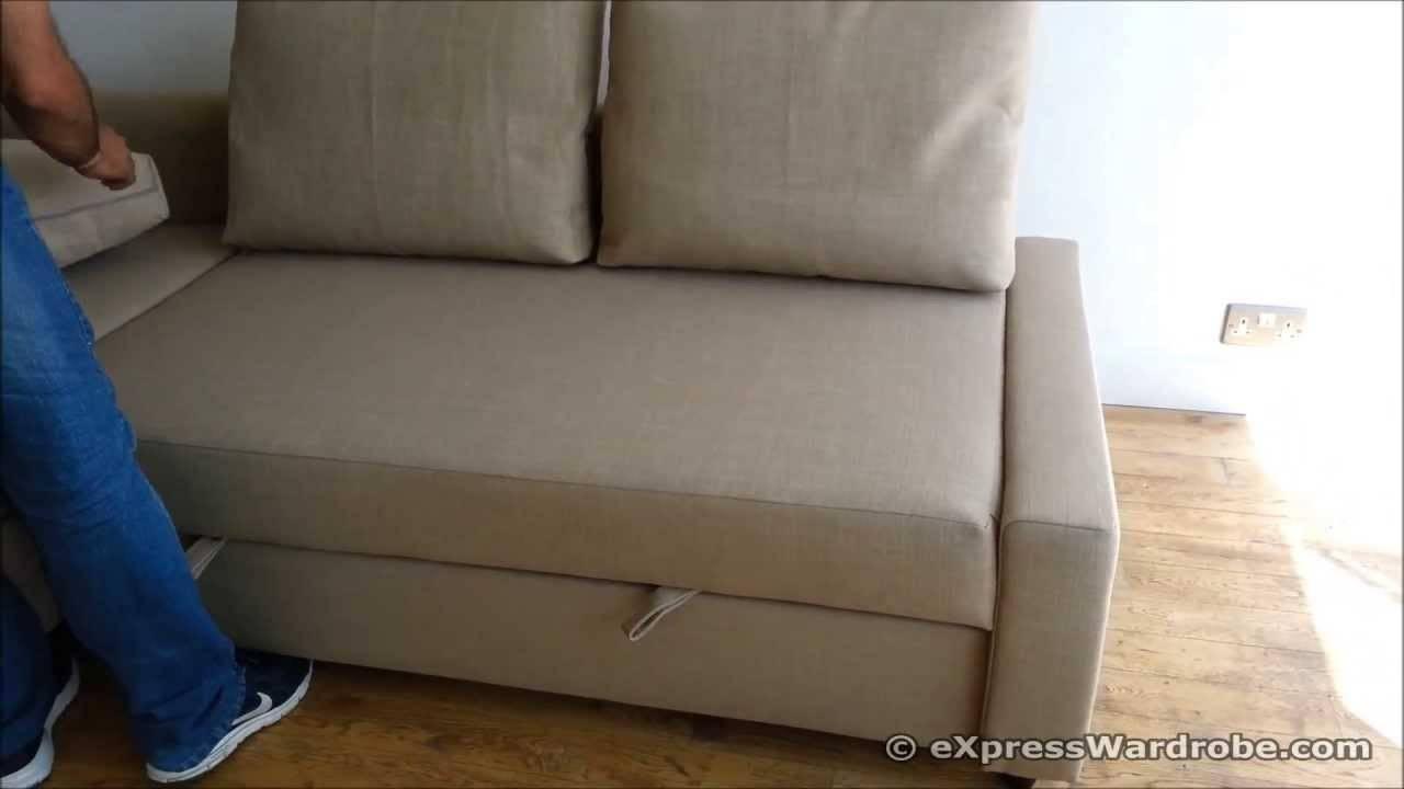 Ikea Friheten Sofa Bed Chaise Longue With Storage Design - Youtube within Storage Sofa Ikea (Image 14 of 25)