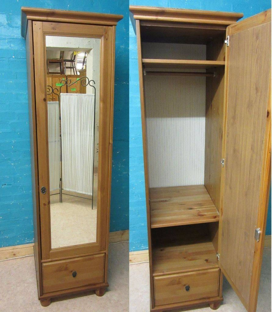 Ikea Leksvik Solid Pine Wood Single 1 Door Mirrored Wardrobe With Throughout Single Pine Wardrobes (View 6 of 15)