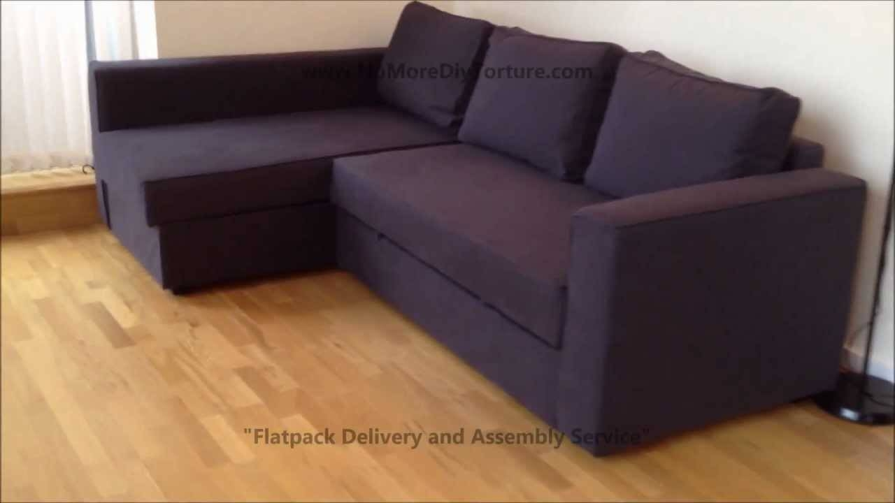 Ikea Manstad Corner Sofa-Bed With Storage - Youtube inside Ikea Corner Sofa Bed With Storage (Image 19 of 25)