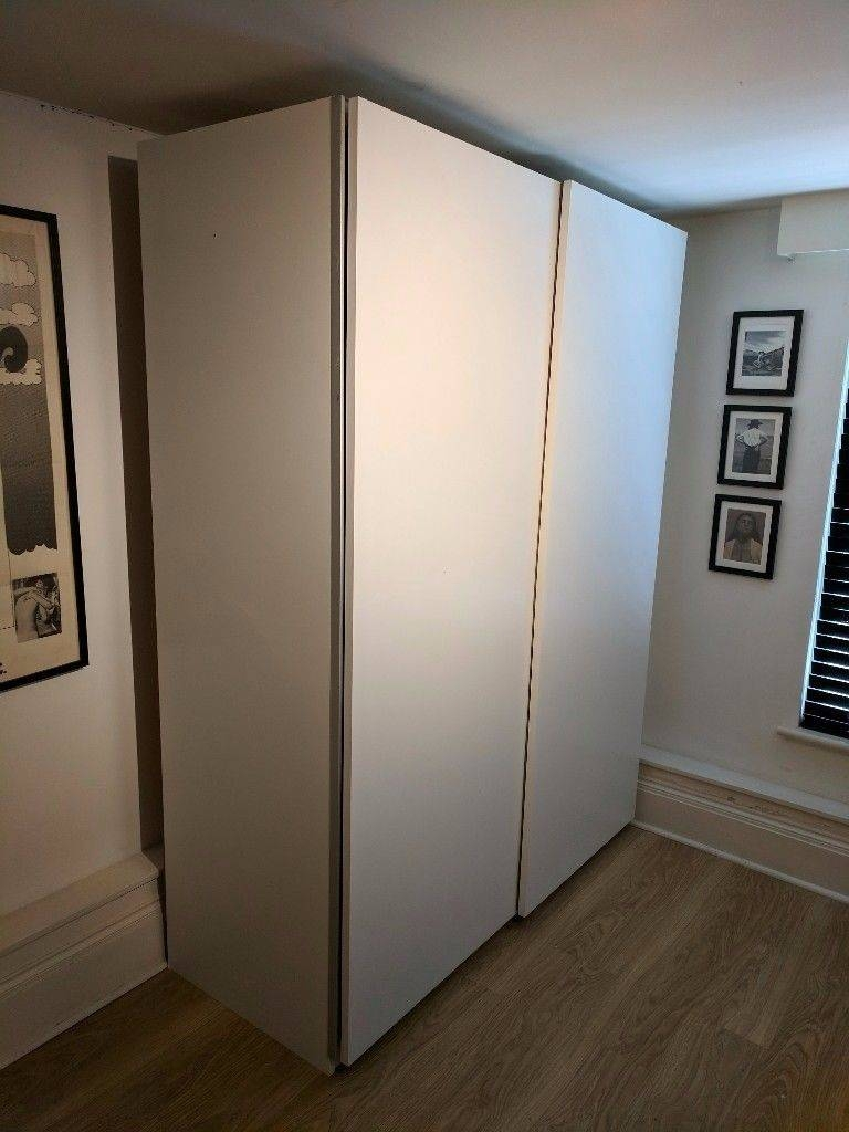 Ikea Pax Double Wardrobe White, Hasvik Sliding Doors, 5 Drawers pertaining to Double Rail Wardrobe With Drawers (Image 16 of 30)